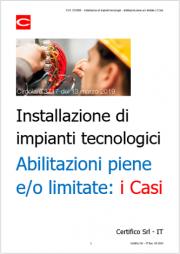 D.M. 37/2008 - Installazione di impianti tecnologici - Abilitazioni piene e/o limitate