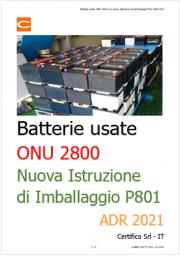 Batterie usate ONU 2800 e la nuova Istruzione di Imballaggio P801 ADR 2021