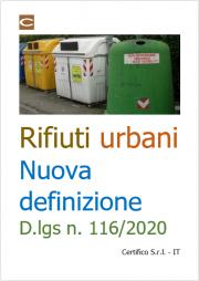Rifiuti urbani: nuova definizione D.lgs n. 116/2020