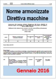 Novità elenco norme armonizzate Direttiva macchine Gennaio 2016
