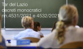Tar del Lazio decreti monocratici nn.4531/2021 e 4532/2021
