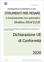 Dichiarazione UE di Conformità | Direttiva Strumenti per pesare
