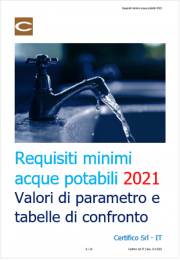 Requisiti minimi acque potabili / Tabella di confronto 2021