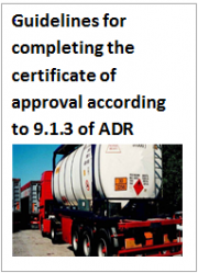 Guidelines for completing the certificate of approval according to 9.1.3 of ADR