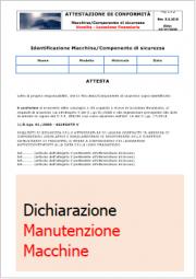 Dichiarazione D.Lgs 81/2008 Manutenzione Macchine