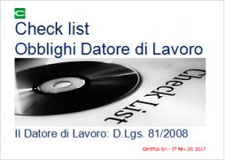 Check list Obblighi Datore di Lavoro D.Lgs. 81/2008