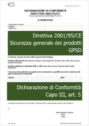 Dichiarazione di Conformità Direttiva 2001/95/CE GPSD