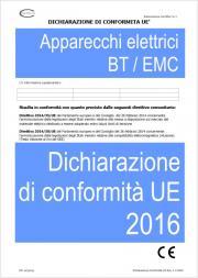 Dichiarazione di Conformita' UE Apparecchi elettrici BT/EMC 2016