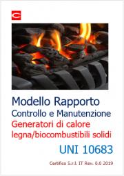 Modello Rapporto Manutenzione generatori calore legna/biocombustibili solidi | UNI 10683