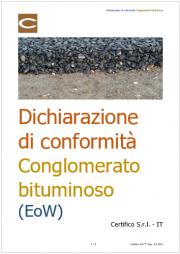 Dichiarazione di conformità Conglomerato bituminoso (EoW)
