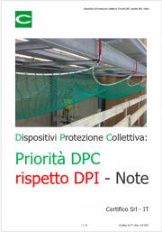 Dispositivi di Protezione Collettiva: Priorità DPC rispetto DPI / Note