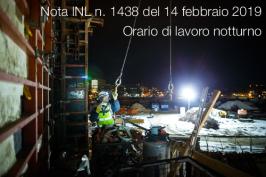 Nota INL n. 1438 del 14 febbraio 2019 | Orario di lavoro notturno