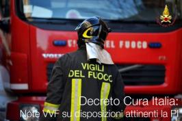Decreto Cura Italia: Note VVF su disposizioni attinenti la PI