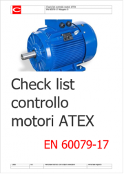 Check list Verifica e manutenzione motori ATEX EN 60079-17