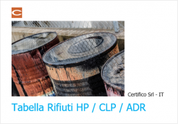 Tabella Rifiuti HP / CLP / ADR