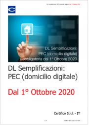 DL Semplificazioni: PEC (domicilio digitale) obbligo dal 1° Ottobre 2020