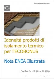Idoneità materiali isolanti termici per l'ECOBONUS | Nota ENEA