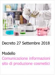 Modello Comunicazione delle informazioni di sito di produzione cosmetici