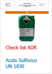 Checklist trasporto in colli di Acido Solforico (ONU 1830) ADR 2015
