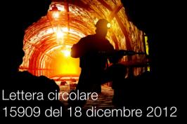 Lettera circolare 15909 del 18 dicembre 2012
