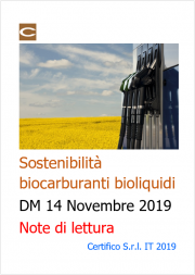 Sostenibilità biocarburanti e bioliquidi - DM 14.11.2019 - Note di lettura