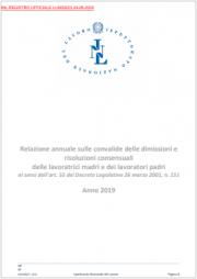 Relazioni annuali dimissioni e risoluzioni consensuali lavoratrici madri