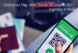 Ordinanza Ministero della Salute 18 Giugno 2021 | Ingresso in Italia