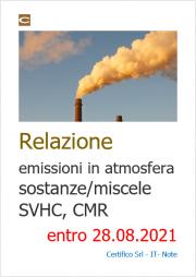 Relazione emissioni in atmosfera sostanze/miscele SVHC, CMR