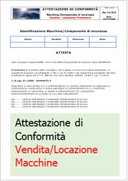 Attestazione conformità D.Lgs. 17/2010 Vendita/Locazione Macchine