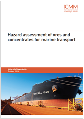 Hazard assessment of ores and concentrates for marine transport