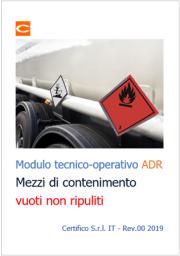 Modulo tecnico-operativo relativo ai mezzi di contenimento vuoti non ripuliti - ADR