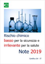 Rischio chimico basso per la sicurezza e irrilevante per la salute: note 2019