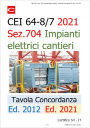 CEI 64-8/7 (Sez. 704) Impiante elettrici cantieri / Tavola di concordanza Ed. 2012 - Ed. 2021