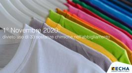 1° Novembre 2020: divieto uso di 33 sostanze chimiche nell'abbigliamento
