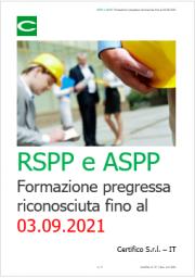 RSPP e ASPP: Formazione pregressa riconosciuta fino al 03.09.2021