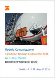 Modello comunicazione esenzione nomina consulente ADR
