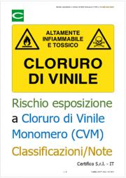 Rischio esposizione a Cloruro di Vinile Monomero (CVM) | Classificazioni e note