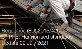 Regulation (EU) 2016/425 on PPE: Harmonised standards published in the OJ | Update 22 July 2021