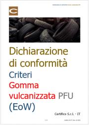 Dichiarazione di conformità Criteri Gomma vulcanizzata PFU (EoW)