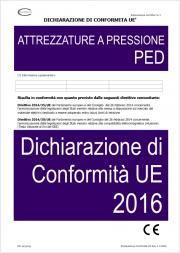 Dichiarazione di Conformita' UE Attrezzature a pressione PED 2016