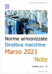 Norme armonizzate Direttiva macchine Marzo 2021: Note