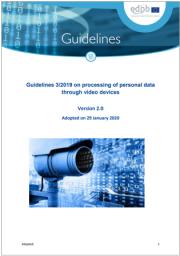 Linee Guida EDPB 3/2019 sulla videosorveglianza