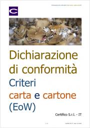 Dichiarazione di conformità Criteri carta e cartone (EoW)