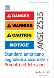 ANSI Z535 Standard americano segnaletica sicurezza