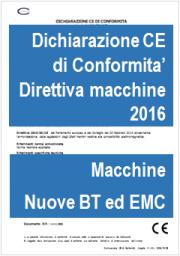 Direttiva macchine 2006/42/CE: aggiornato Modello con nuove Dichiarazioni BT ed EMC - 2016