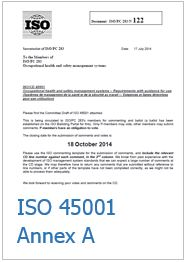 ISO/CD 45001 Occupational health and safety management systems  - Annex A