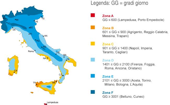 Italia Climatica Cartina.Zone Climatiche Tabella A Aggiornata D P R 412 1993 Certifico Srl