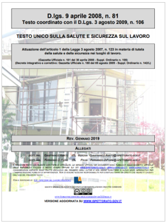 Testo unico sicurezza 81 2008 Rev 01 2019