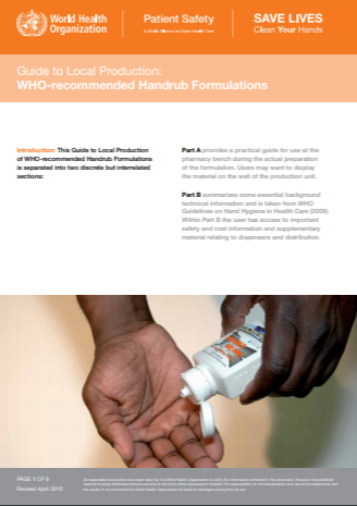 Guide to Local Production of WHO recommended Handrub Formulations